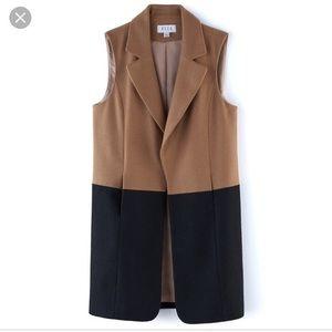 Elle Two Toned Khaki & Black Color Blocked Vest